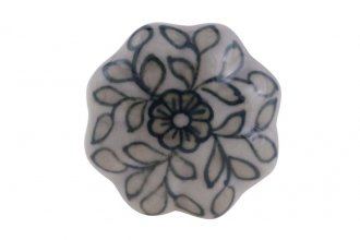 Puxador Indiano de Cerâmica com Pintura de Folhas- Amecasa