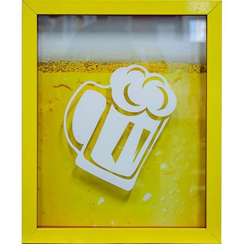 Tudo sobre 'Quadro Chopp Porta-Tampinhas Amarelo 22x27x3cm - Kapo'