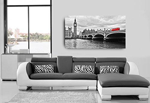 Quadro Decorativo Londres Preto e Branco 55X100