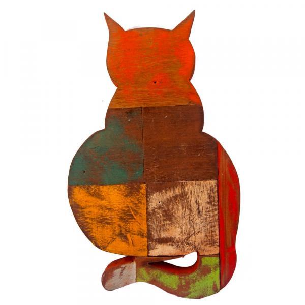 Quadro em Madeira de Demolição Gato - Artesanal