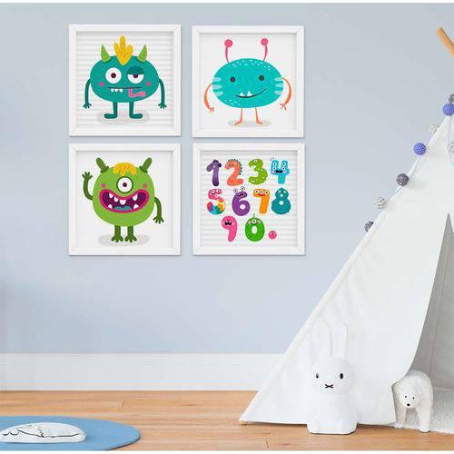 Quadro Infantil Monstros Kit 4 Peças
