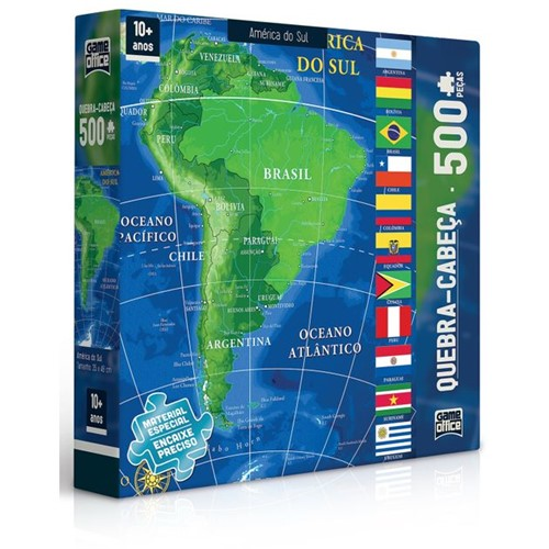 Tudo sobre 'Quebra-cabeça Mapa América do Sul 500 Peças'