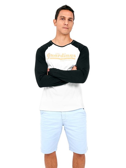 Raglan Colleged-branco e Preto-gg