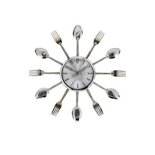 Relógio de Parede Criativo Formato de Talheres para Cozinha