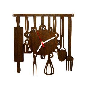 Relógio de Parede Decorativo - Modelo Cozinha - Marrom