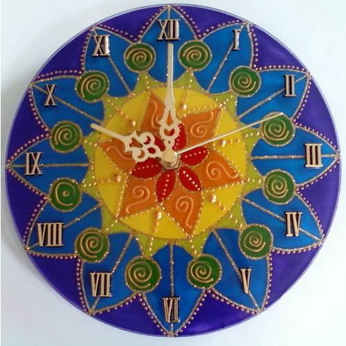 Relógio de Parede Mandala Colorida de 20cm