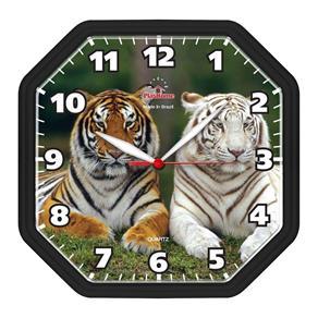 Relógio de Parede Oitavado Preto Tigre