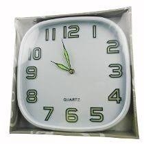 Relógio de Parede Quadrado Fluorescente 25 Cm