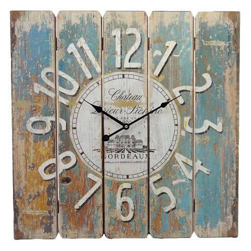 Tudo sobre 'Relógio de Parede Quadrado Rústico - 58x58 Cm'