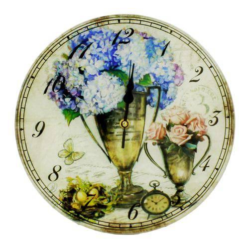 Relógio de Parede Redondo de Vidro 30cm