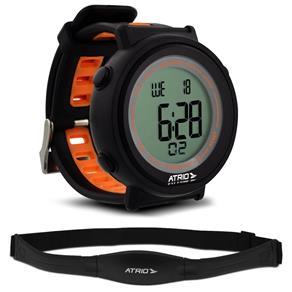 Relógio Heart Rate Atrio Fortius Preto e Laranja Monitor Cardíaco com Cinta ES049