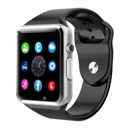 Tudo sobre 'Relógio Inteligente Smartwarch A1 Android Iphone Chip Bluetooth - Preto com Prata'
