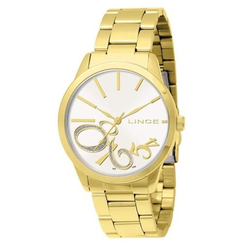 Relógio Lince Feminino Dourado com Fundo Branco - Lrg4118l