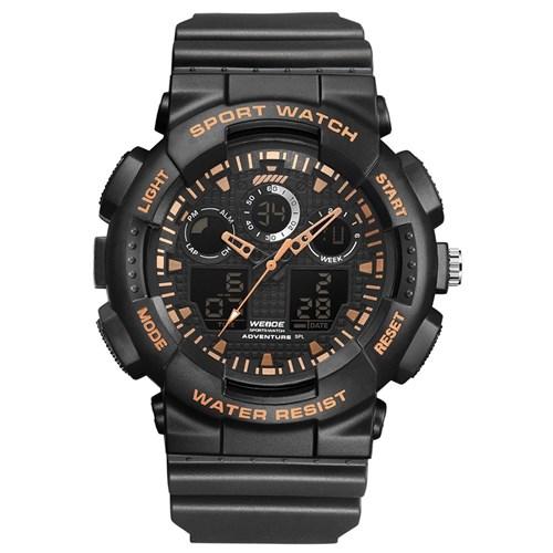 Relógio Masculino Weide Anadigi Wa3j8003 - Preto e Doura