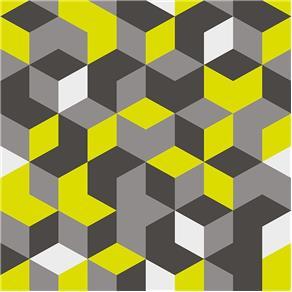 Revestimento Adesivo Geométrico Amarelo e Cinza