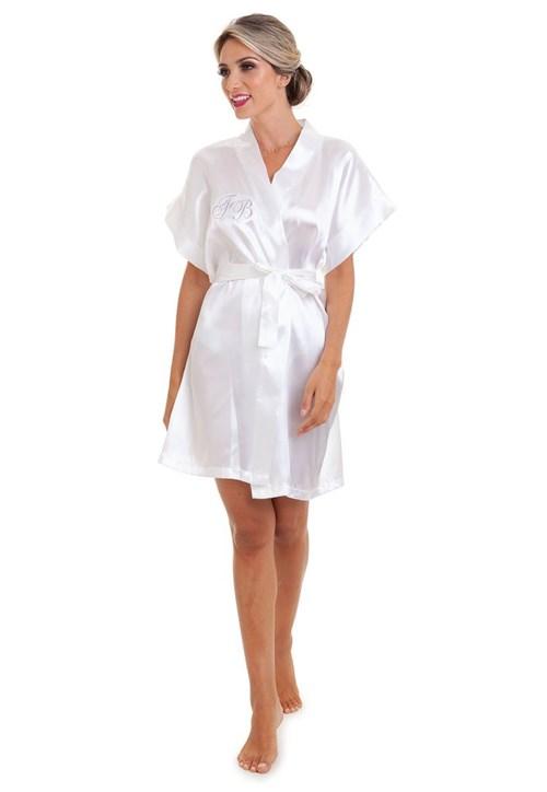 Robe de Cetim Bordado Manga Curta - Branco