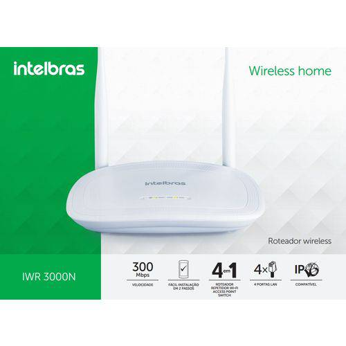 Roteador Wireless 300mbps Intelbras Iwr 300n - 2 Antenas