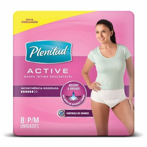 Roupa Intima Active Mulher P/m com 8 Unidades - Plenitud