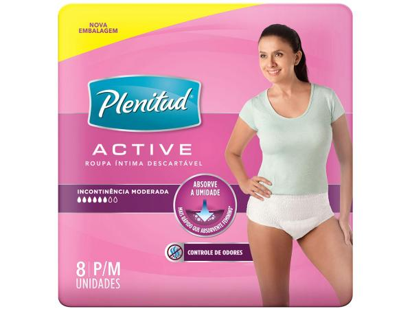 Roupa Íntima Active Mulher Plenitud P/M - 8 Unidades