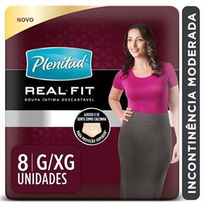 Roupa Íntima Descartável com Proteção para Incontinência Plenitud Active Fit Feminina G/GX – 8 Unidades