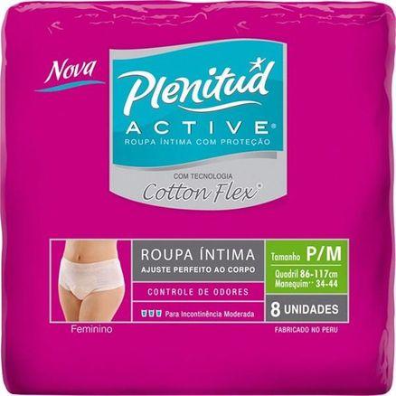 Roupa Íntima Plenitud Active Mulher Cotton Flex P/M 8 Unidades
