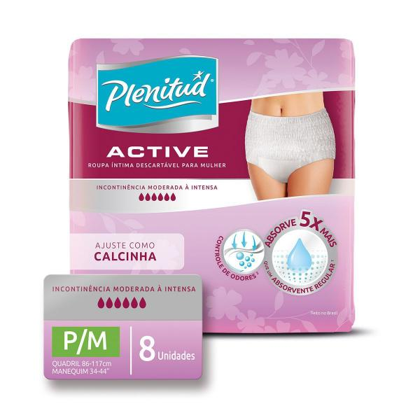 Roupa Intima Plenitud Active Mulher P/M 8 Unidades