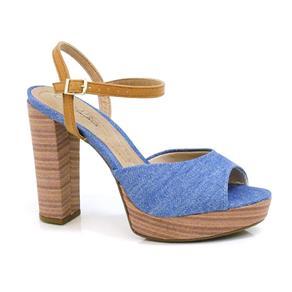 Sandália de Salto Alto Feminina Beira Rio - 8290208-12102 - 35 - Azul/Camel