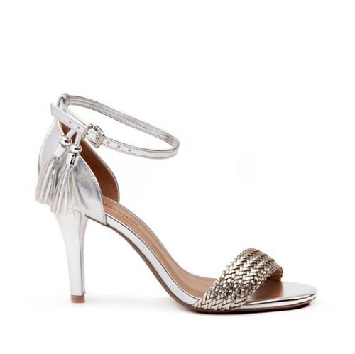 Sandália Salto Fino Metal Glam - 34