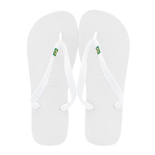Sandálias Havaianas Brasil Branco Tamanho 45/46 com 1 Par