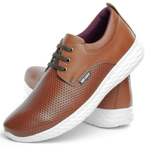 Sapatenis Casual Neway Masculino Couro Whisky