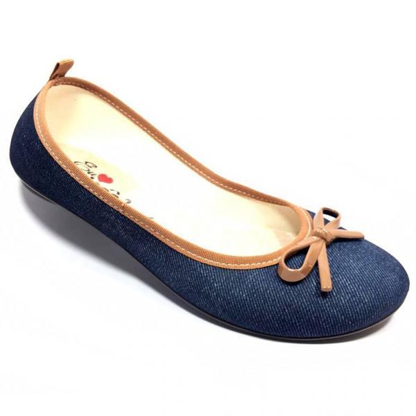 Sapatilha Moleca Jeans Laço Feminina - Azul