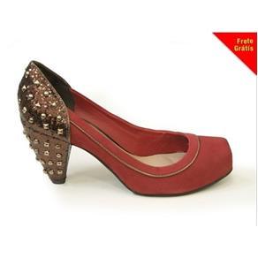 Sapato de Couro Camurça N4281 - 35 - VERMELHO