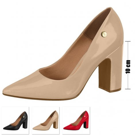 Sapato Salto Grosso Vizzano Verniz - Nude