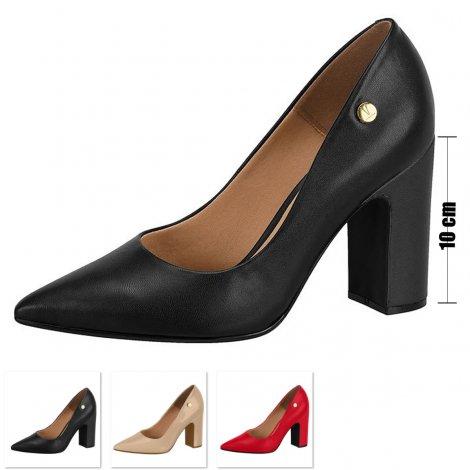 Sapato Salto Grosso Vizzano Verniz - Preto
