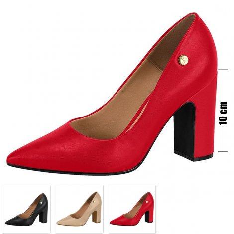 Sapato Salto Grosso Vizzano Verniz - Vermelho
