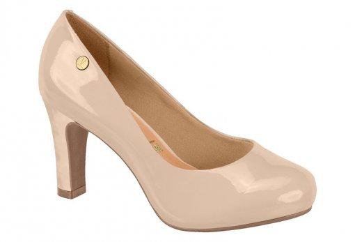 Sapato Scarpin Feminino Vizzano Salto Grosso Bege 1840101 1840101