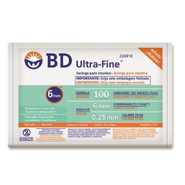 Seringa com Insulina BD 100UI com Agulha 6mm com 10 Unidades