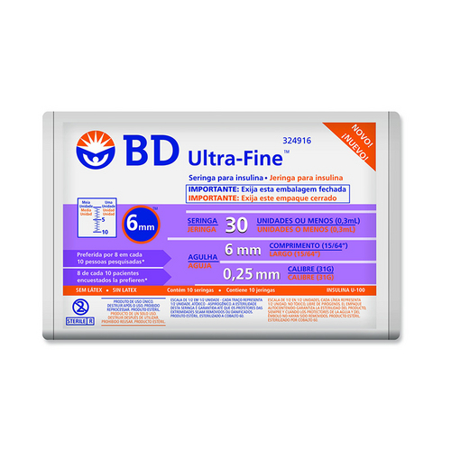 Seringa de Insulina Bd Ultra-Fine 6mm Capacidade de 30 Unidades de Insulina Pacote com 10 Seringas