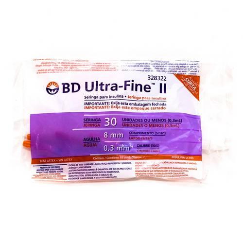 Seringa de Insulina Bd Ultra-Fine 8mm Capacidade de 30 Unidades de Insulina Pacote com 10 Seringas
