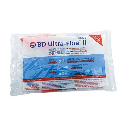 Seringa de Insulina Bd Ultra-Fine 8mm Capacidade de 50 Unidades de Insulina Pacote com 10 Seringas