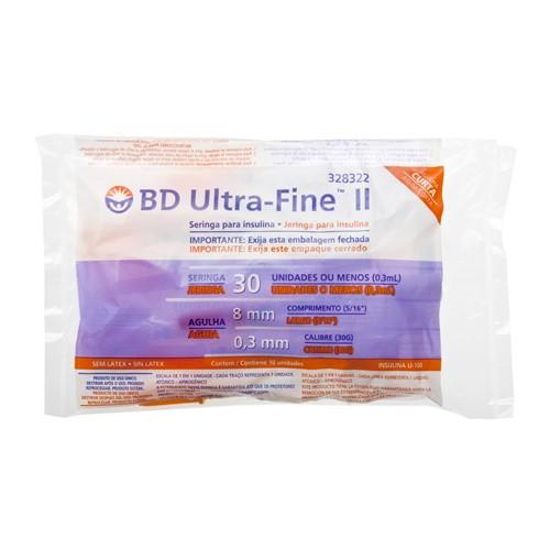 Seringa Insulina BD Ultra-Fine 30UI Agulha 8mm 10 Unidades