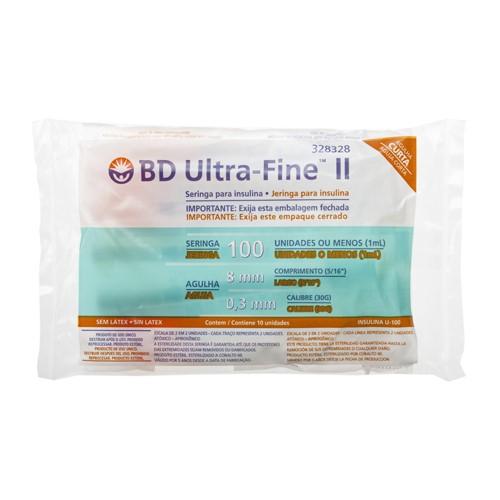 Seringa Insulina BD Ultra-Fine 100UI Agulha 8mm 10 Unidades