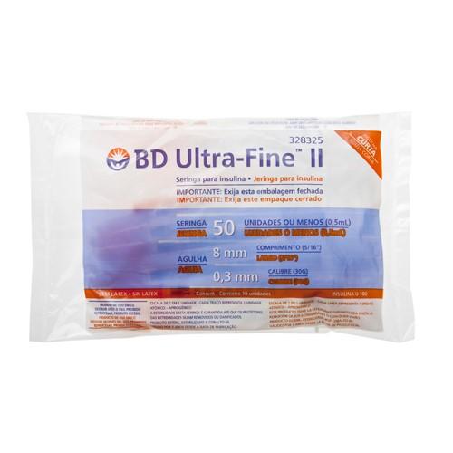 Seringa Insulina BD Ultra-Fine 50UI Agulha 8mm 10 Unidades