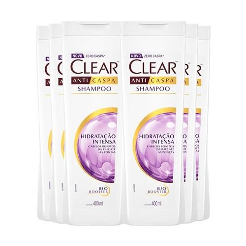 Shampoo Anticaspa Clear Hidratação Intensa 400Ml - 6Un