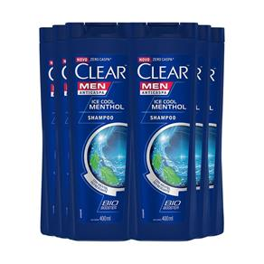 Shampoo Anticaspa Clear Ice Cool Menthol 400Ml - 6Un