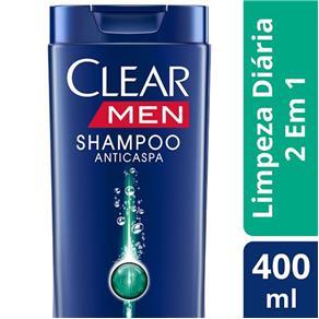 Shampoo Anticaspa Clear Men 2 em 1 Limpeza Diária - 400ml