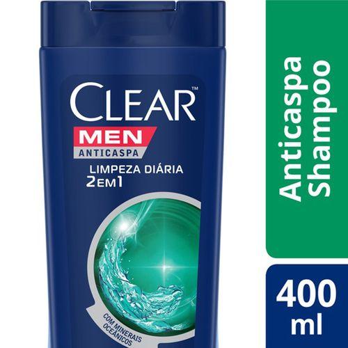 Shampoo Anticaspa Clear Men Limpeza Diária 2 em 1 400ml Shampoo Anticaspa CLEAR Limpeza Diária 2 em 1 400ML