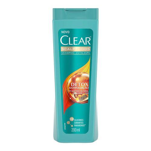 Shampoo Anticaspa Clear Scalpfoods Detox Antipoluição 200ml