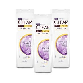 Shampoo Anticaspa Hidratação Intensa Clear 400ml - 3 Un