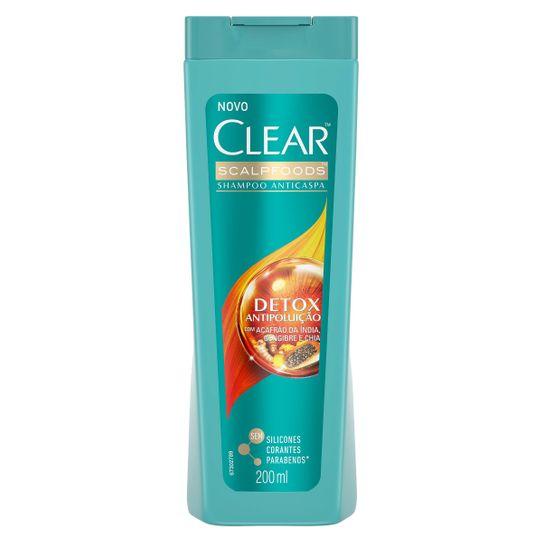 Shampoo Clear Anticaspa Detox Antipoluição 200ml